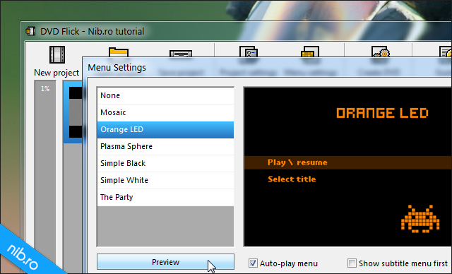 DVD Flick: Menu Settings