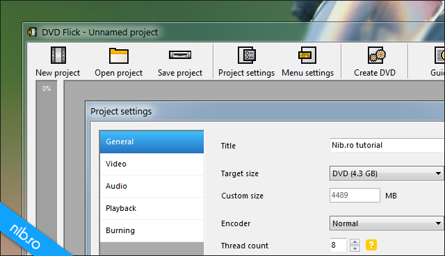 DVD Flick: Project settings
